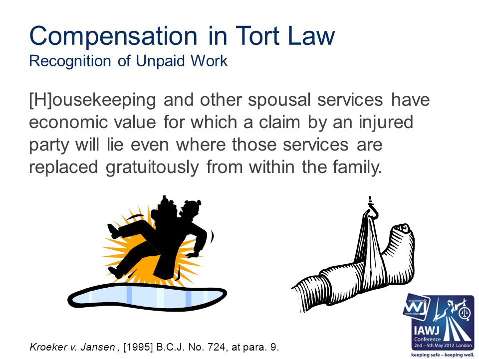Compensation in Tort Law Recognition of Unpaid Work [H]ousekeeping and other spousal services have economic value for which a claim by an injured party will lie even where those services are replaced gratuitously from within the family.