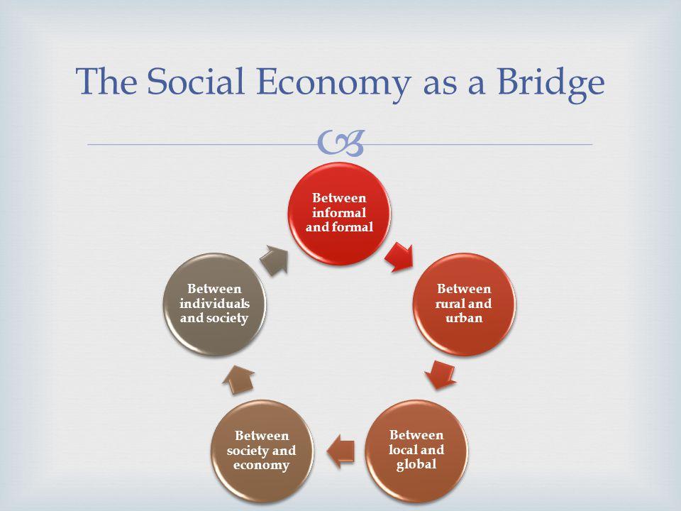 The Social Economy as a Bridge Between informal and formal Between rural and urban Between local and global Between society and economy Between indivi