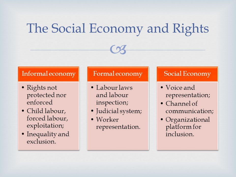 Informal economy Rights not protected nor enforced Child labour, forced labour, exploitation; Inequality and exclusion.