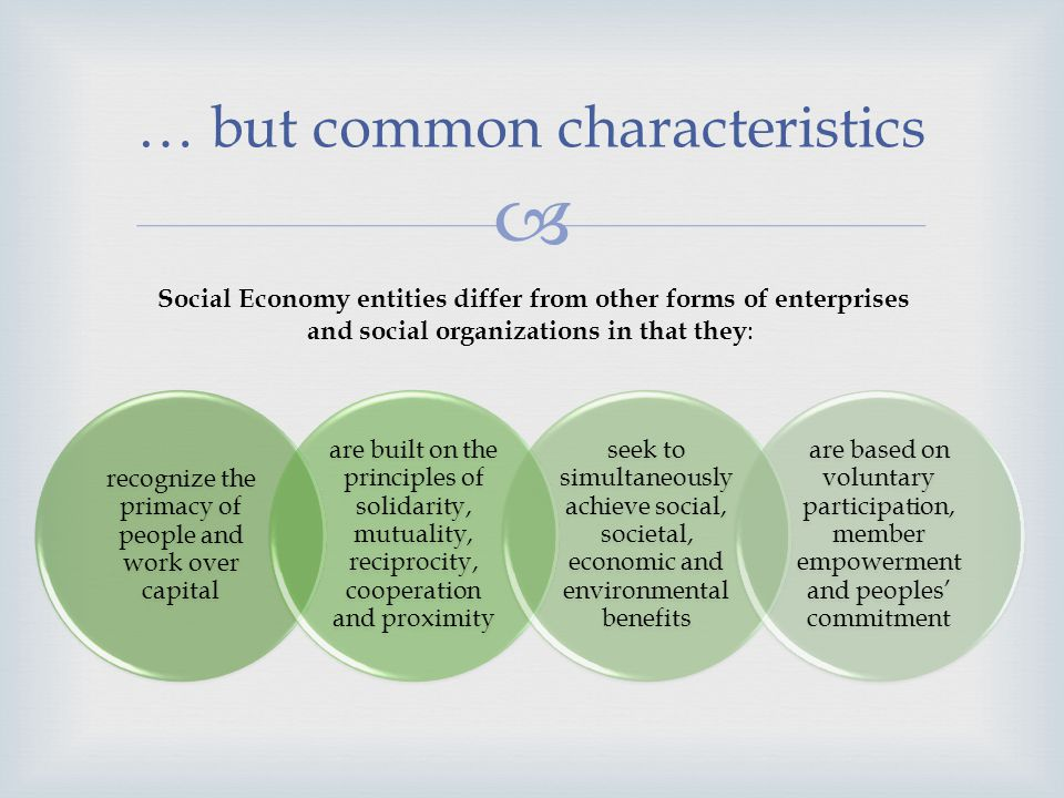 The Social Economy and Dialogue Informal economy No voice nor representation; No participation in decision-making; No dialogue institutions and mechanisms; Formal economy Trade unions and workers organizations; Employers organizations and chambers; Social dialogue laws and institutions.