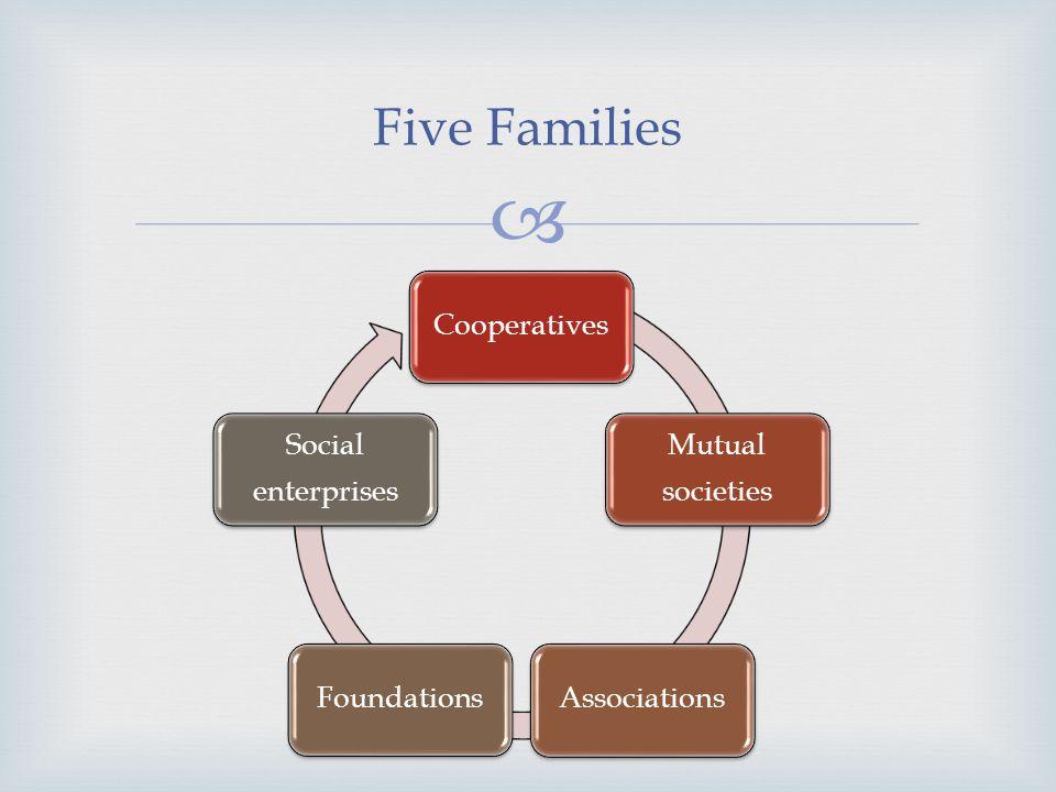 Five Families Cooperatives Mutual societies AssociationsFoundations Social enterprises