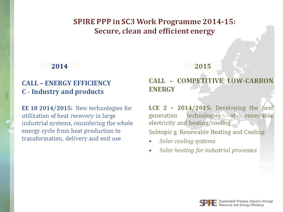 WWW.SPIRE2030.EU Raw Materials Components & Products Discrete Manufacturing: SPIRE PPP in SC3 Work Programme 2014-15: Secure, clean and efficient ener