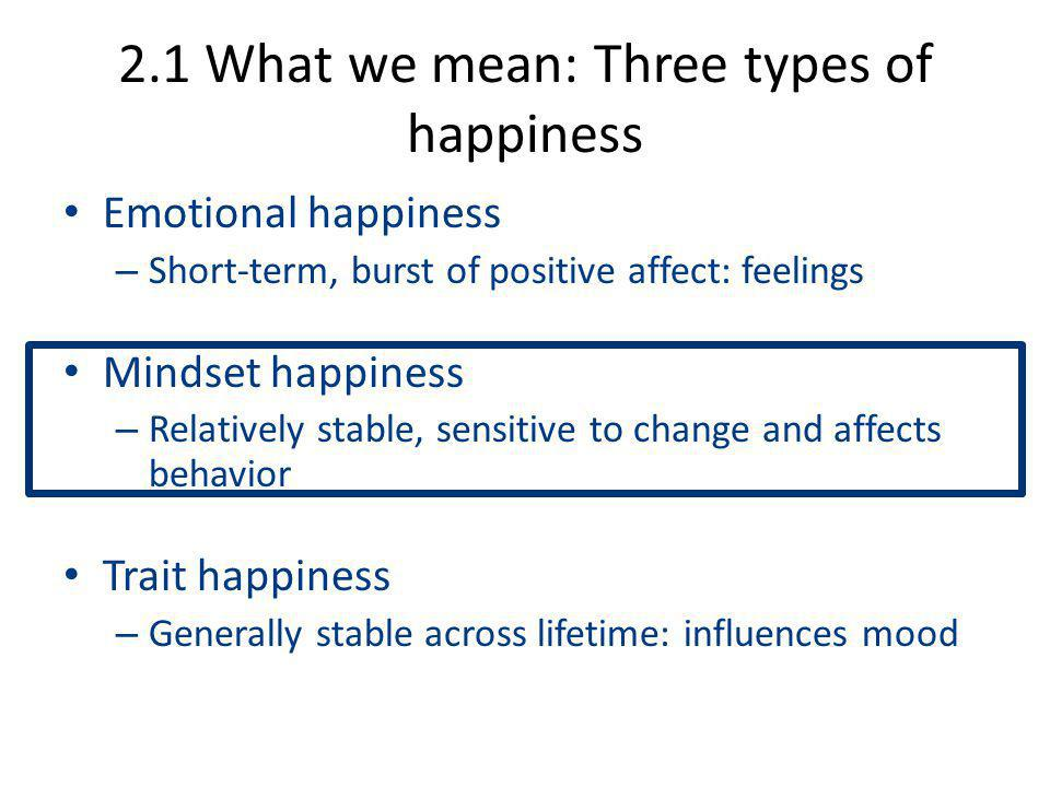 2.1 What we mean: Three types of happiness Emotional happiness – Short-term, burst of positive affect: feelings Mindset happiness – Relatively stable, sensitive to change and affects behavior Trait happiness – Generally stable across lifetime: influences mood