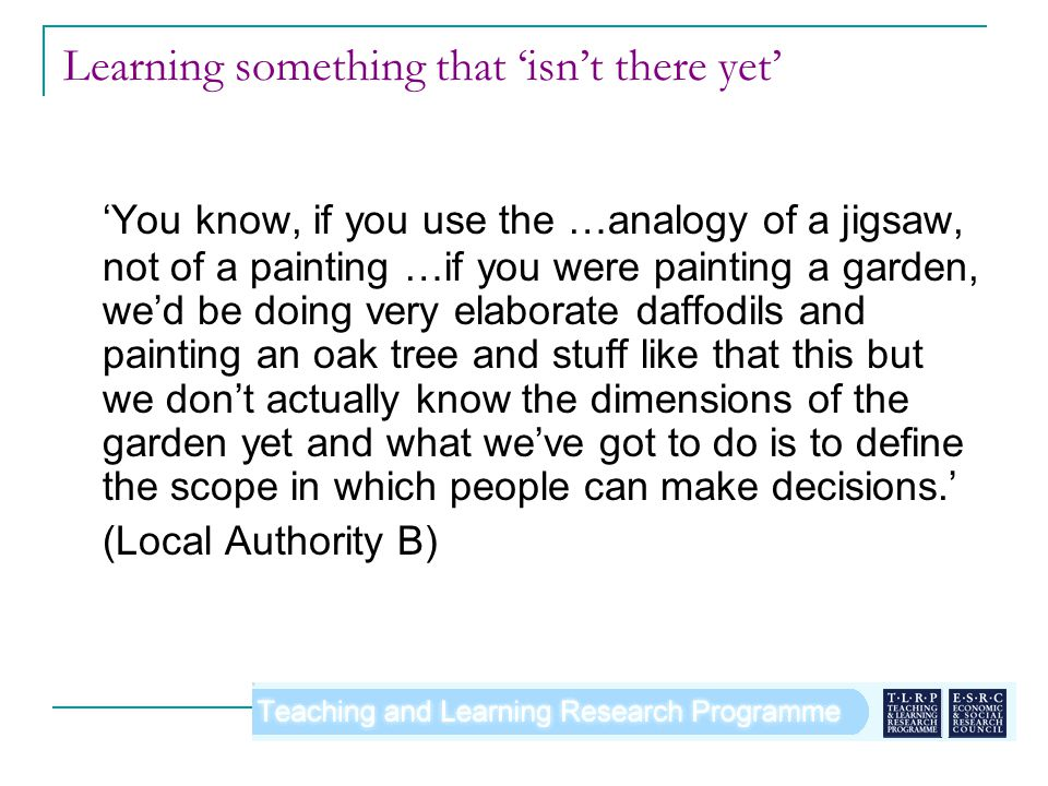 Learning something that isnt there yet You know, if you use the …analogy of a jigsaw, not of a painting …if you were painting a garden, wed be doing very elaborate daffodils and painting an oak tree and stuff like that this but we dont actually know the dimensions of the garden yet and what weve got to do is to define the scope in which people can make decisions.