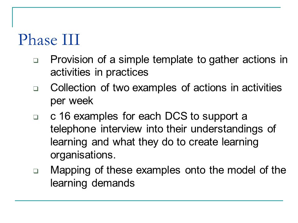 Phase III Provision of a simple template to gather actions in activities in practices Collection of two examples of actions in activities per week c 16 examples for each DCS to support a telephone interview into their understandings of learning and what they do to create learning organisations.