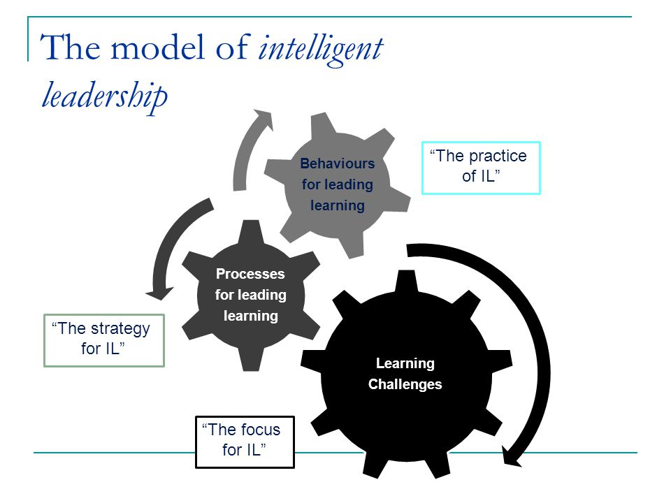 Learning Challenges Processes for leading learning Behaviours for leading learning The model of intelligent leadership The focus for IL The strategy for IL The practice of IL