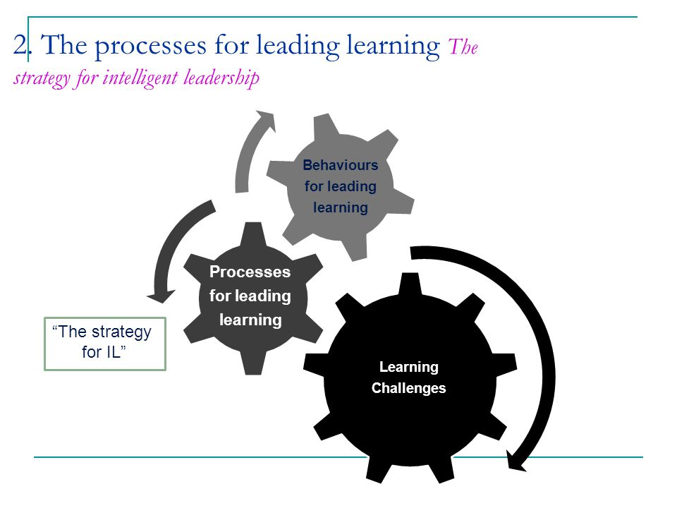 2. The processes for leading learning The strategy for intelligent leadership Learning Challenges Behaviours for leading learning Processes for leadin