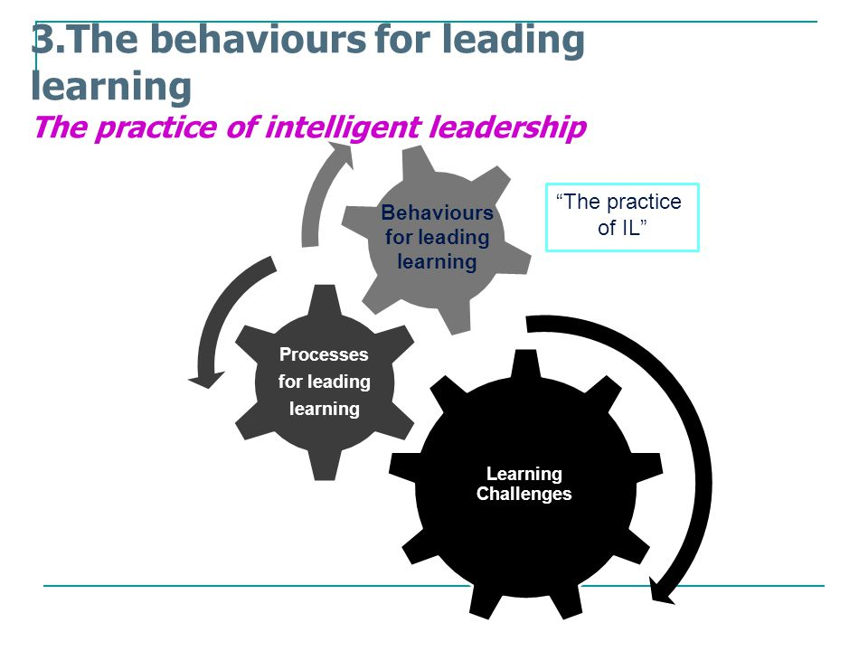 Learning Challenges Behaviours for leading learning Processes for leading learning 3.The behaviours for leading learning The practice of intelligent leadership Learning Challenges Processes for leading learning The practice of IL Behaviours for leading learning