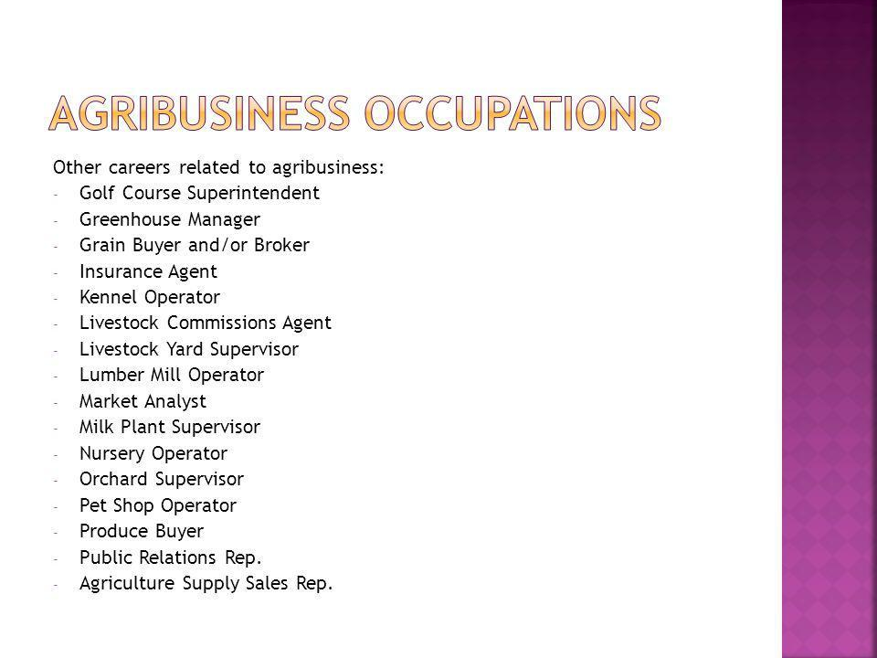 Other careers related to agribusiness: - Golf Course Superintendent - Greenhouse Manager - Grain Buyer and/or Broker - Insurance Agent - Kennel Operator - Livestock Commissions Agent - Livestock Yard Supervisor - Lumber Mill Operator - Market Analyst - Milk Plant Supervisor - Nursery Operator - Orchard Supervisor - Pet Shop Operator - Produce Buyer - Public Relations Rep.