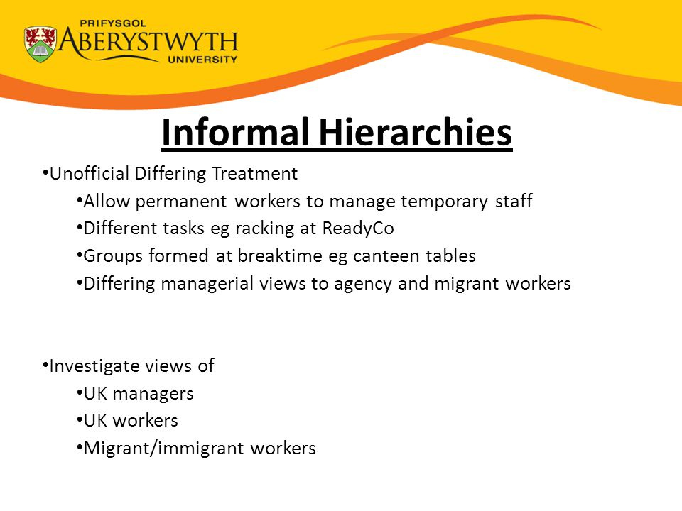 Informal Hierarchies Unofficial Differing Treatment Allow permanent workers to manage temporary staff Different tasks eg racking at ReadyCo Groups for