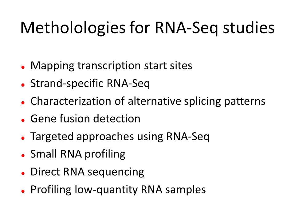 Metholologies for RNA-Seq studies Mapping transcription start sites Strand-specific RNA-Seq Characterization of alternative splicing patterns Gene fus