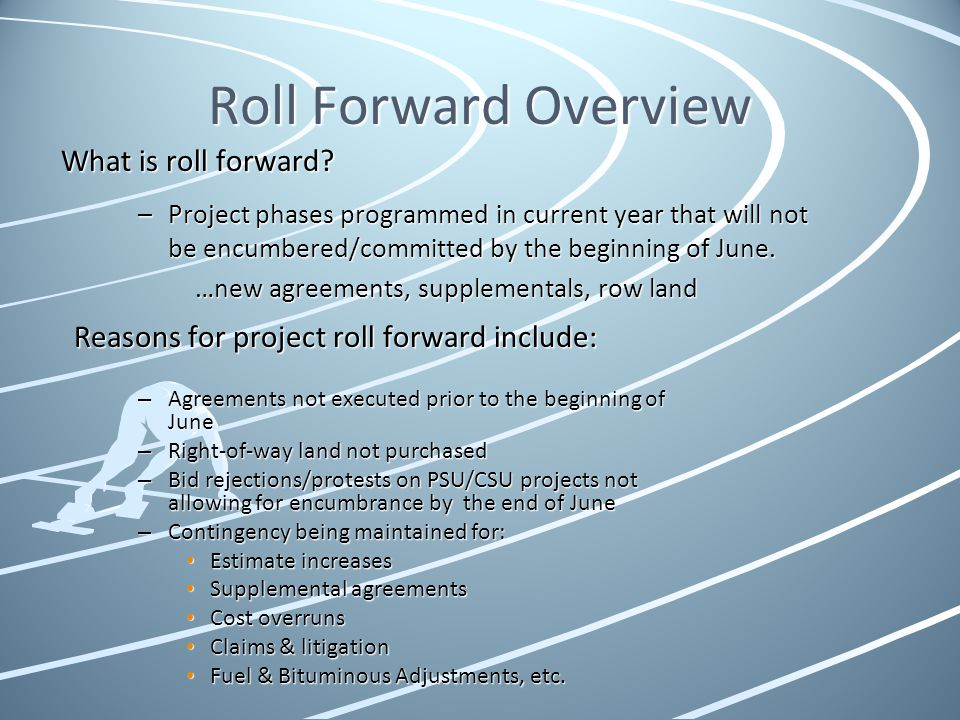 Roll Forward Overview What is roll forward? –Project phases programmed in current year that will not be encumbered/committed by the beginning of June.