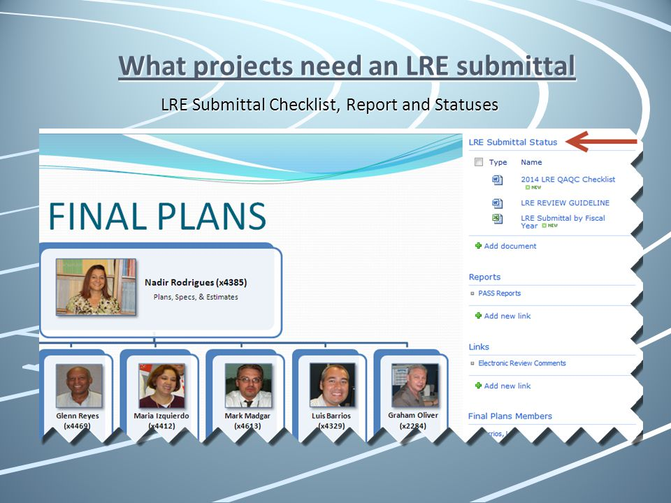 What projects need an LRE submittal LRE Submittal Checklist, Report and Statuses