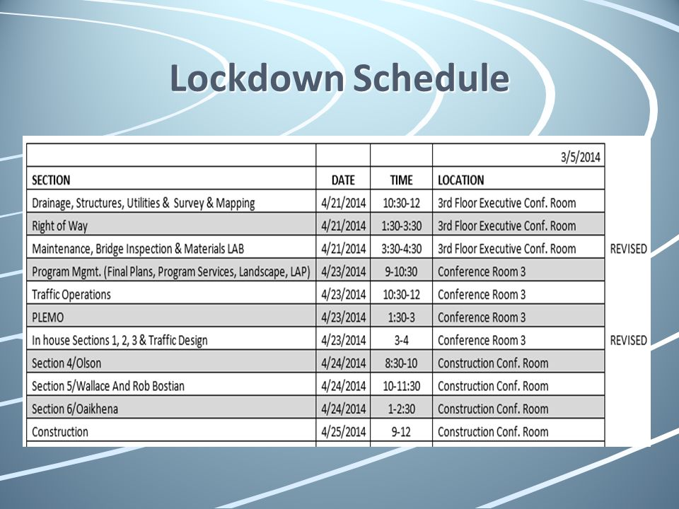 Lockdown Schedule