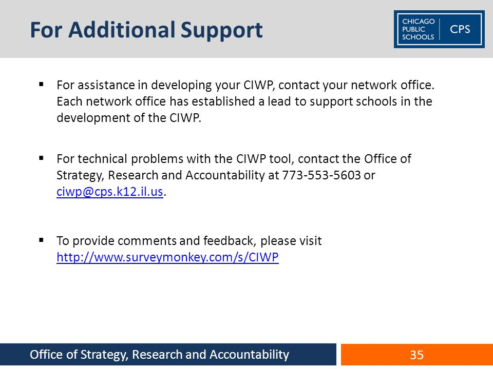For Additional Support For assistance in developing your CIWP, contact your network office. Each network office has established a lead to support scho