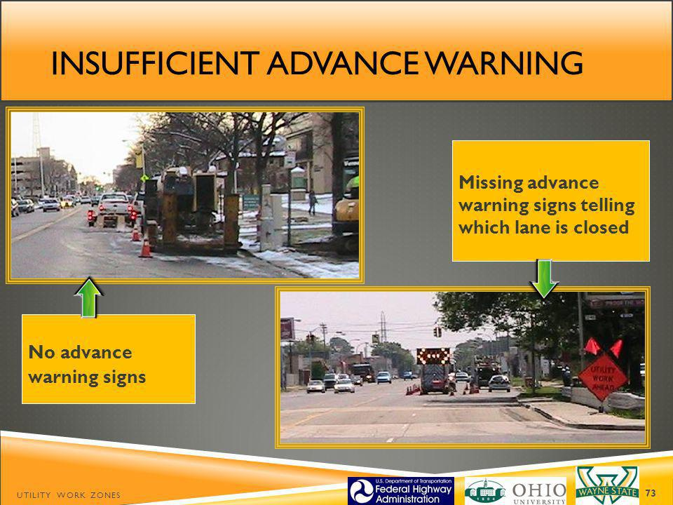 INSUFFICIENT ADVANCE WARNING UTILITY WORK ZONES 73 No advance warning signs Missing advance warning signs telling which lane is closed