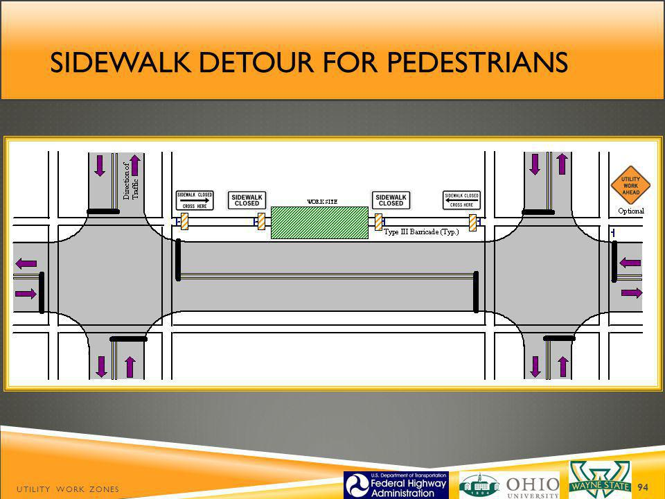 SIDEWALK DETOUR FOR PEDESTRIANS UTILITY WORK ZONES 94