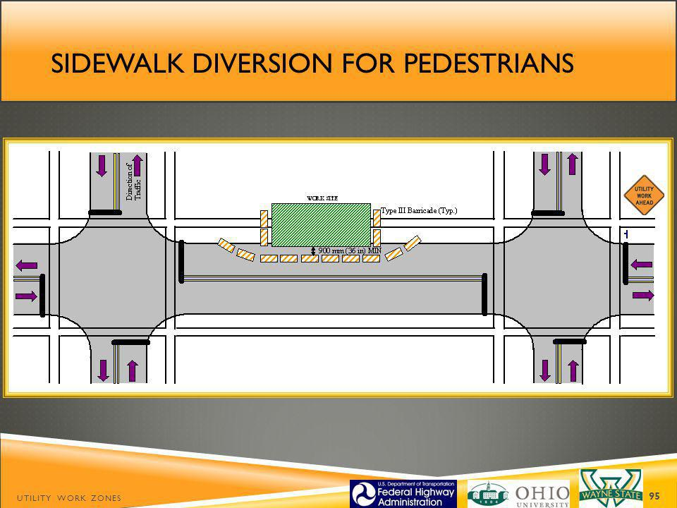 SIDEWALK DIVERSION FOR PEDESTRIANS UTILITY WORK ZONES 95