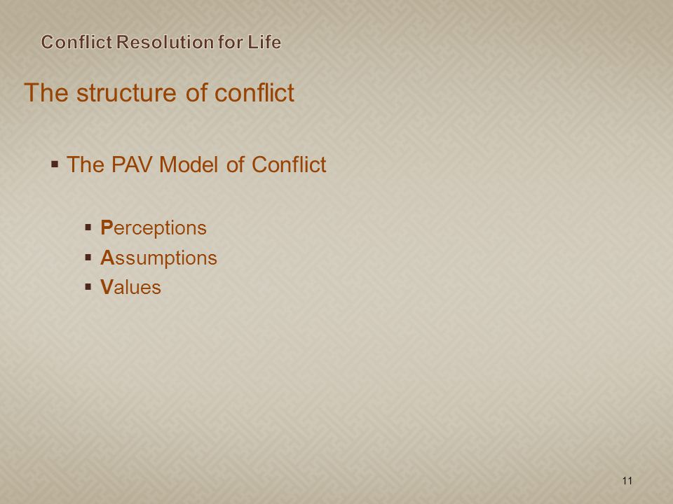 The structure of conflict The PAV Model of Conflict Perceptions Assumptions Values 11