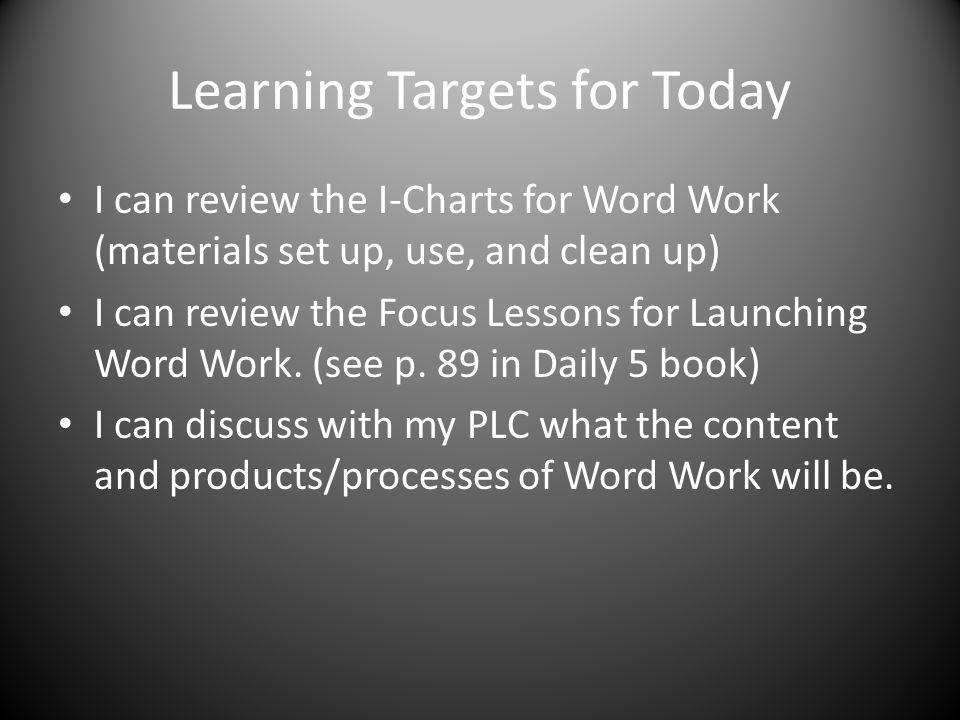 Learning Targets for Today I can review the I-Charts for Word Work (materials set up, use, and clean up) I can review the Focus Lessons for Launching