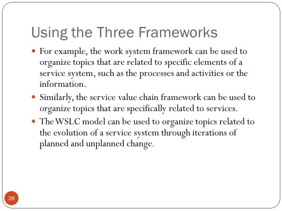 Using the Three Frameworks 28 For example, the work system framework can be used to organize topics that are related to specific elements of a service