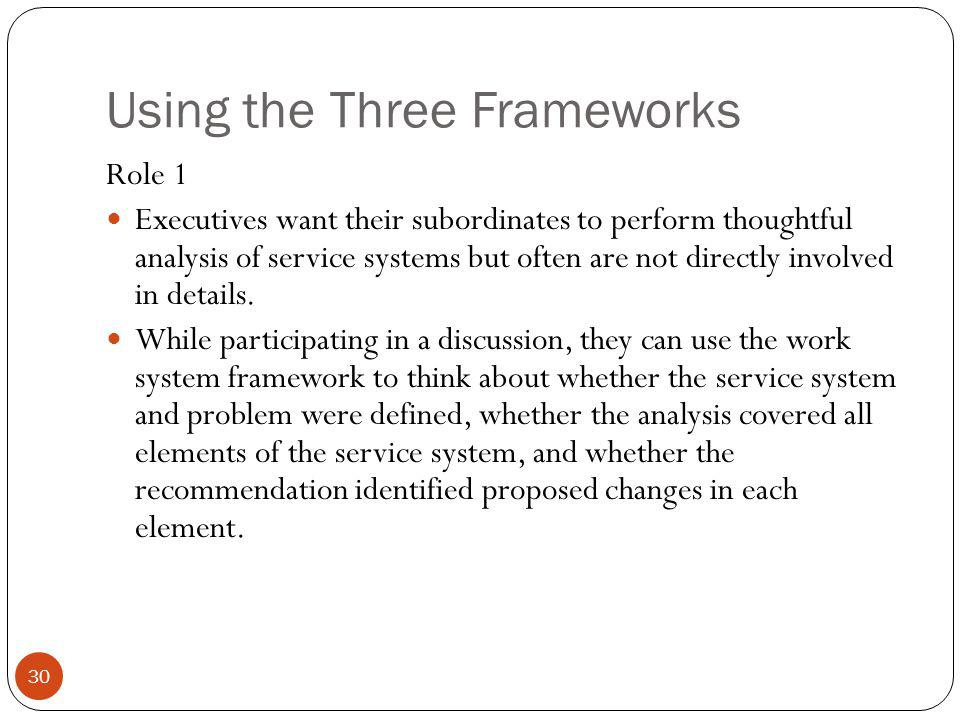 Using the Three Frameworks 30 Role 1 Executives want their subordinates to perform thoughtful analysis of service systems but often are not directly i
