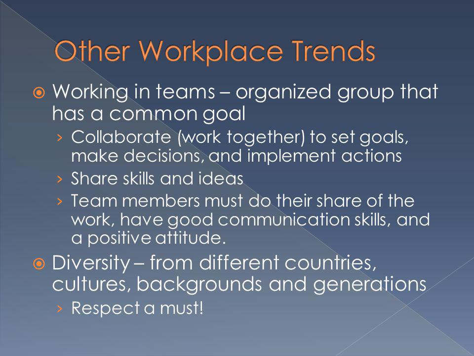 Working in teams – organized group that has a common goal Collaborate (work together) to set goals, make decisions, and implement actions Share skills