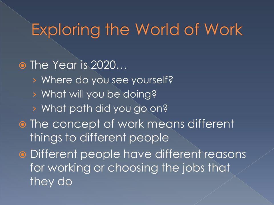 Work is any useful activity Full time: 2,000 hours a year Lifetime: Full time from 22 years – 70 years = 96,000 hours Interests – things you like to do Skills – things you know how to do (knowledge combined with experience) Transferable Skills – skills that you can use in many different situations