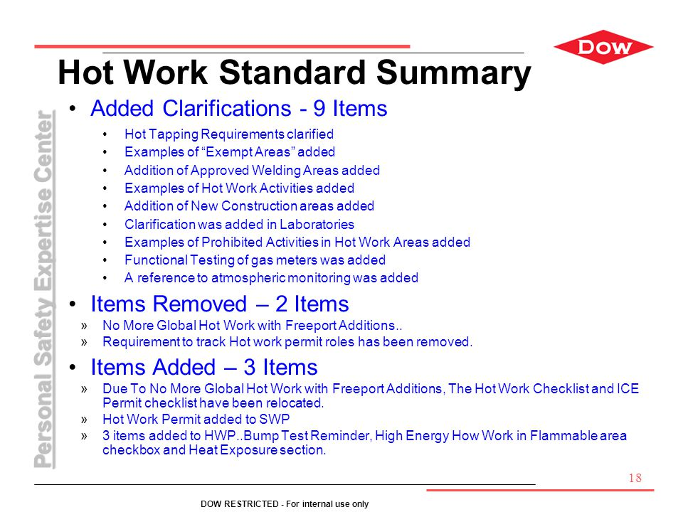 Personal Safety Expertise Center DOW RESTRICTED - For internal use only Hot Work Standard Summary Added Clarifications - 9 Items Hot Tapping Requireme