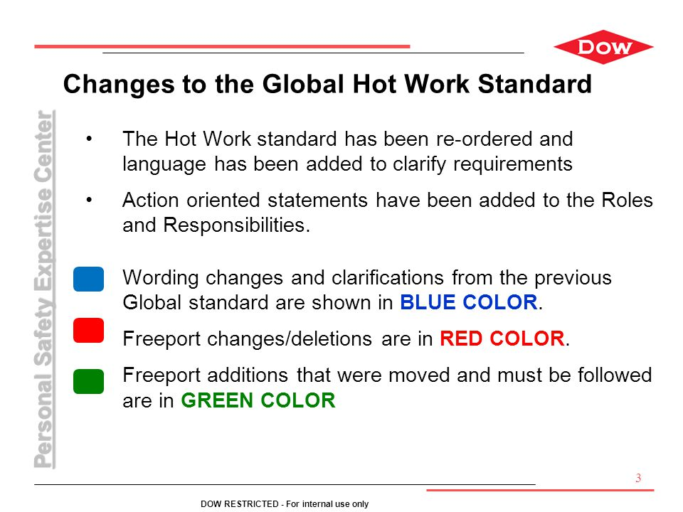 Personal Safety Expertise Center DOW RESTRICTED - For internal use only 3 Changes to the Global Hot Work Standard The Hot Work standard has been re-or
