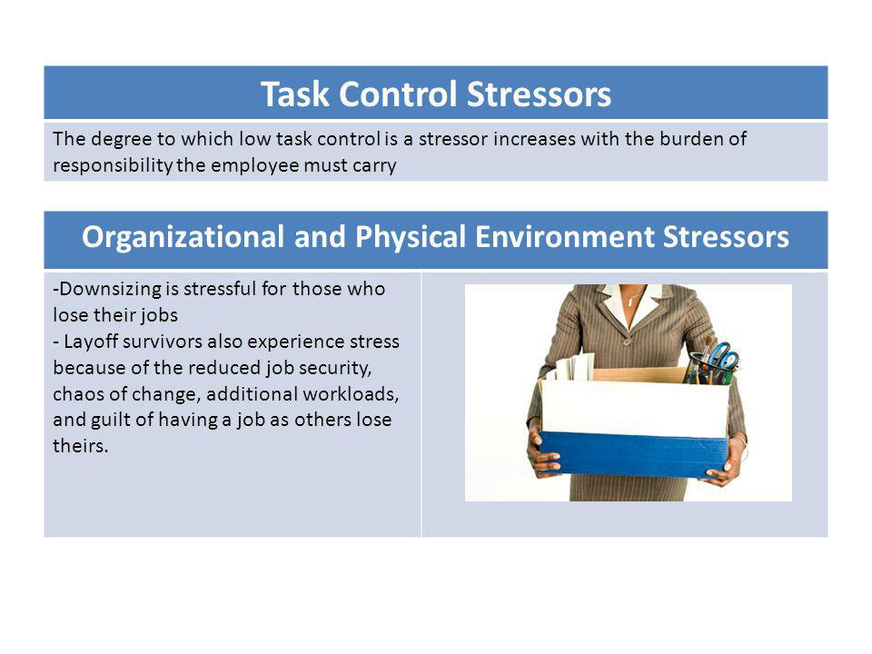 Task Control Stressors The degree to which low task control is a stressor increases with the burden of responsibility the employee must carry Organiza