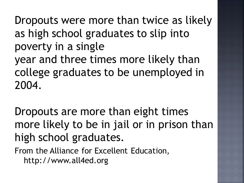 Dropouts were more than twice as likely as high school graduates to slip into poverty in a single year and three times more likely than college graduates to be unemployed in 2004.