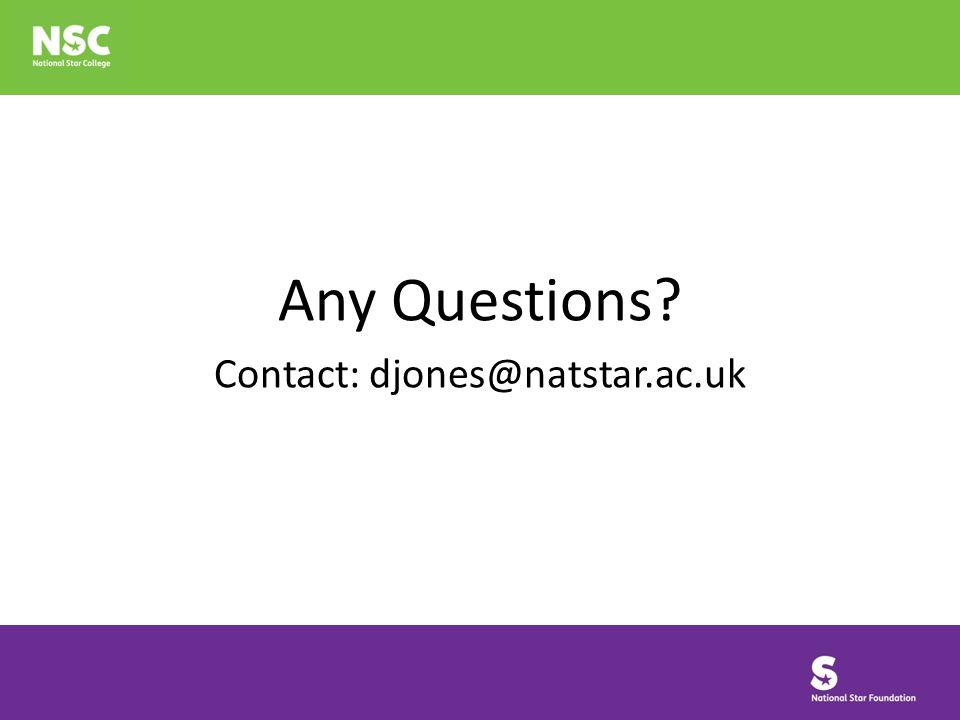 Any Questions Contact: djones@natstar.ac.uk