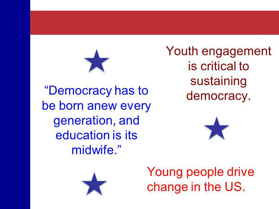 Youth engagement is critical to sustaining democracy. Young people drive change in the US. Democracy has to be born anew every generation, and educati