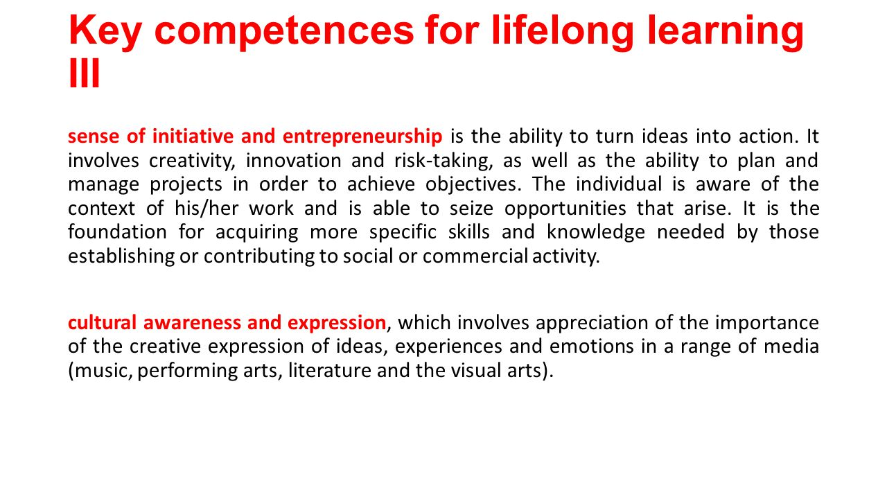 Key competences for lifelong learning III sense of initiative and entrepreneurship is the ability to turn ideas into action.