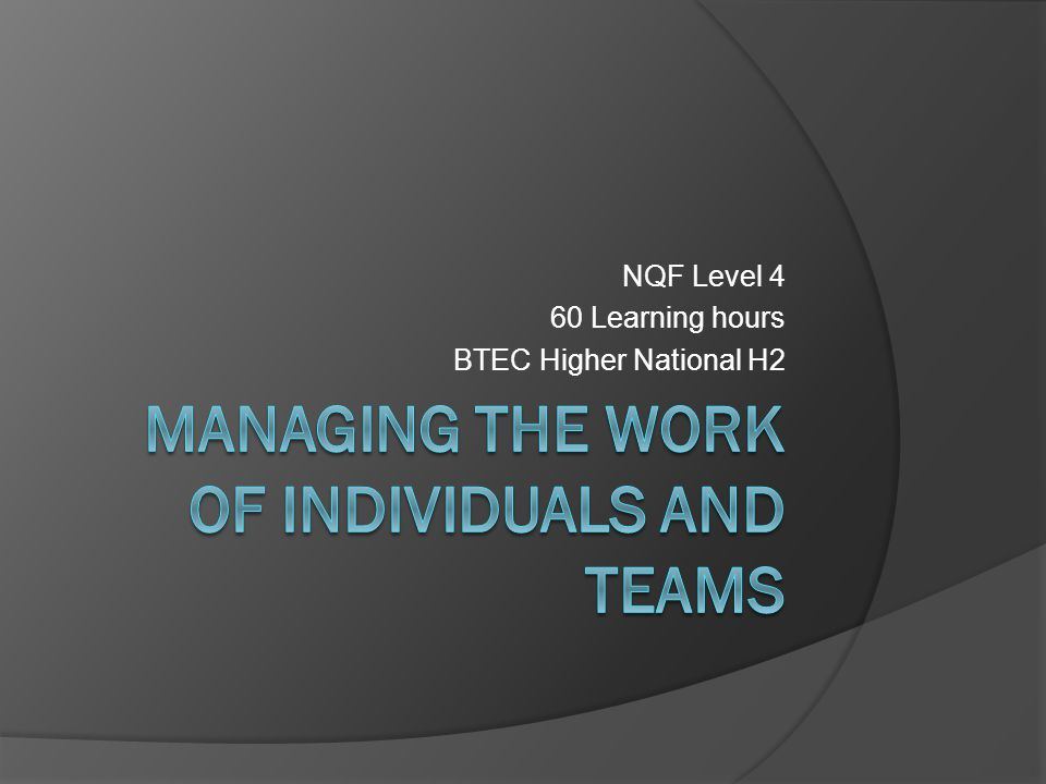 NQF Level 4 60 Learning hours BTEC Higher National H2