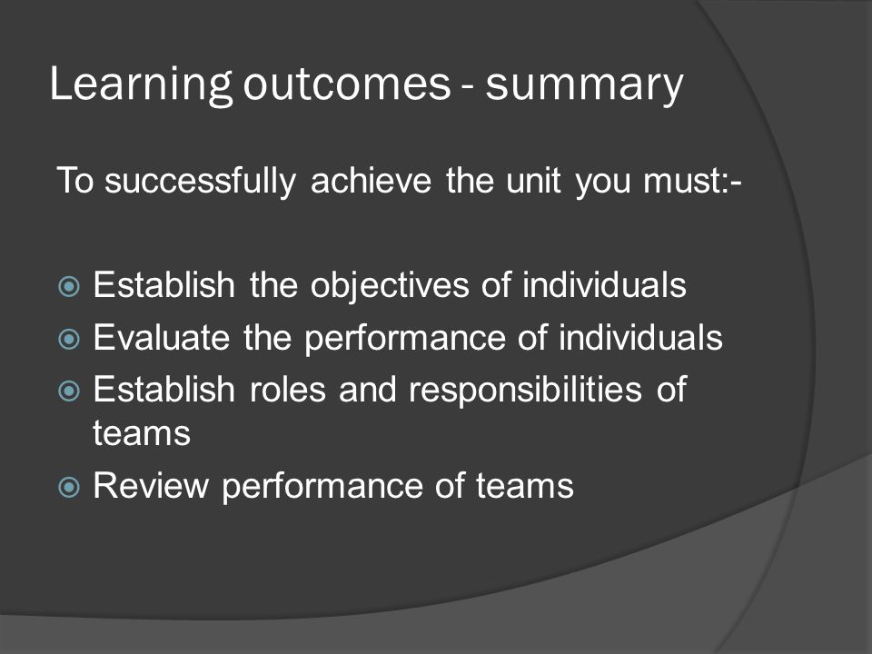 Learning outcomes - summary To successfully achieve the unit you must:- Establish the objectives of individuals Evaluate the performance of individuals Establish roles and responsibilities of teams Review performance of teams