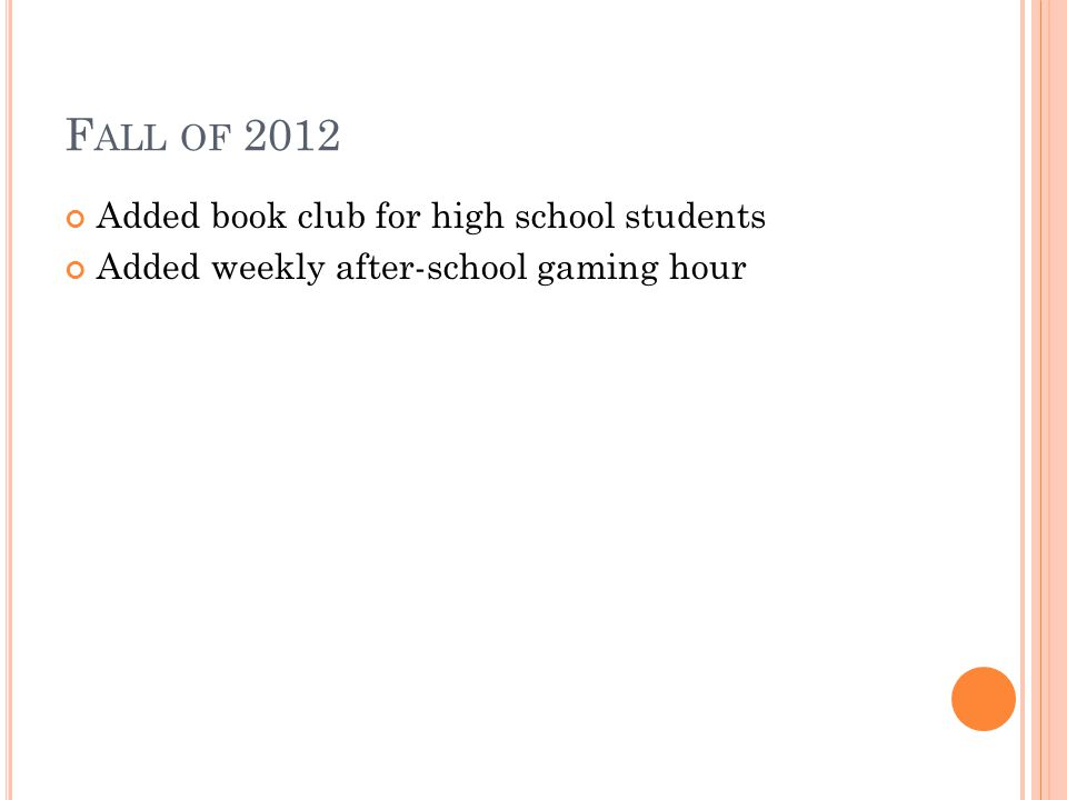 F ALL OF 2012 Added book club for high school students Added weekly after-school gaming hour