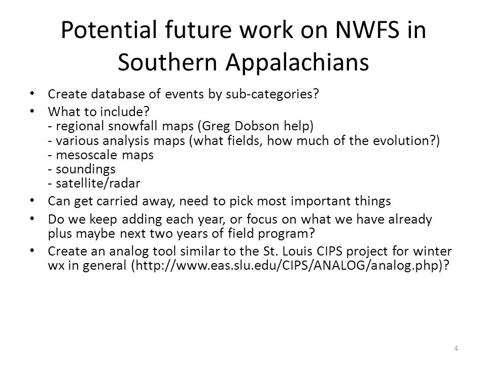 Potential future work on NWFS in Southern Appalachians Create database of events by sub-categories.