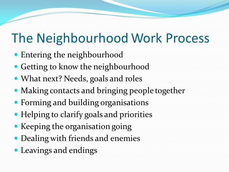 The Neighbourhood Work Process Entering the neighbourhood Getting to know the neighbourhood What next.