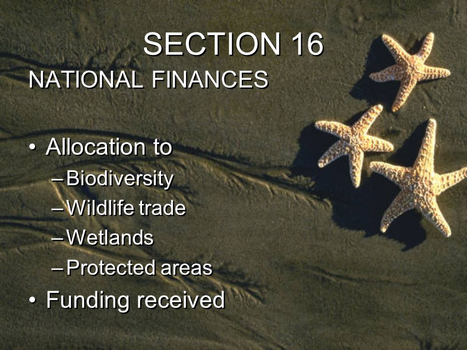 SECTION 16 NATIONAL FINANCES Allocation to –Biodiversity –Wildlife trade –Wetlands –Protected areas Funding received NATIONAL FINANCES Allocation to –Biodiversity –Wildlife trade –Wetlands –Protected areas Funding received