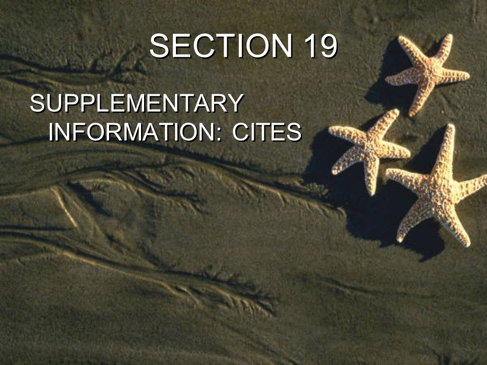 SECTION 19 SUPPLEMENTARY INFORMATION: CITES