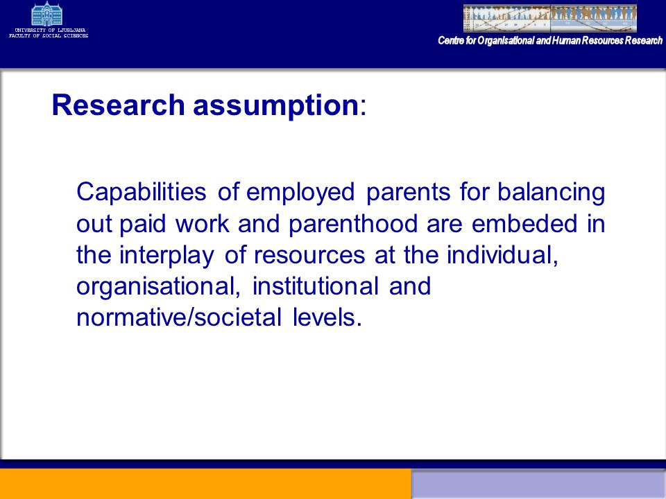 Research assumption: Capabilities of employed parents for balancing out paid work and parenthood are embeded in the interplay of resources at the individual, organisational, institutional and normative/societal levels.