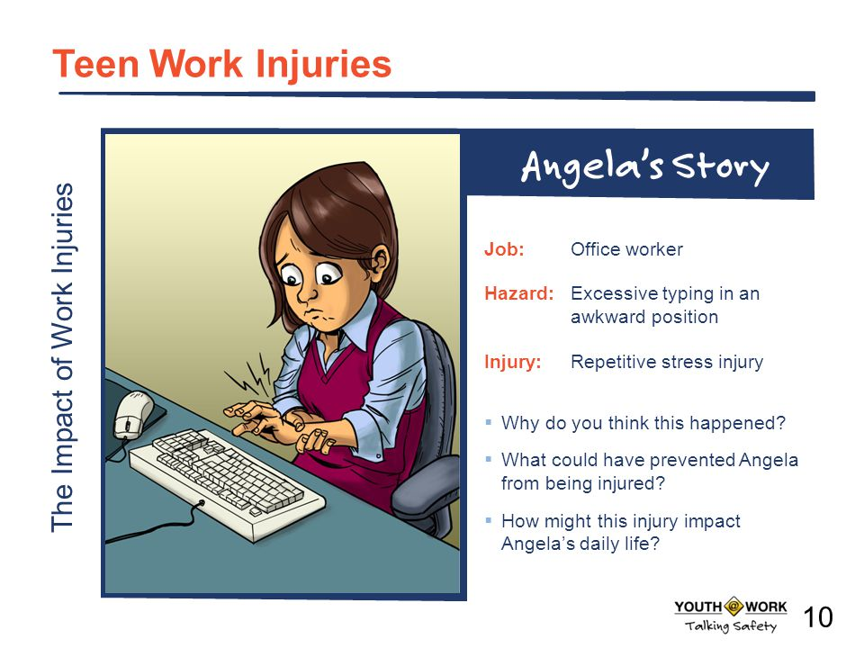 The Impact of Work Injuries Teen Work Injuries Why do you think this happened? What could have prevented Angela from being injured? How might this inj