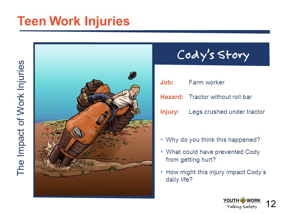 The Impact of Work Injuries Teen Work Injuries Why do you think this happened? What could have prevented Cody from getting hurt? How might this injury