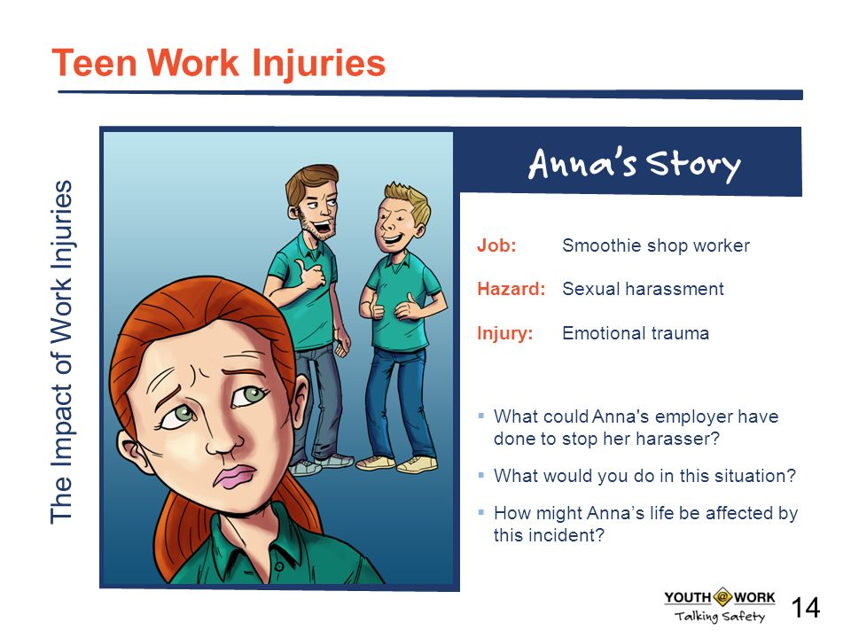 The Impact of Work Injuries Teen Work Injuries What could Anna's employer have done to stop her harasser? What would you do in this situation? How mig
