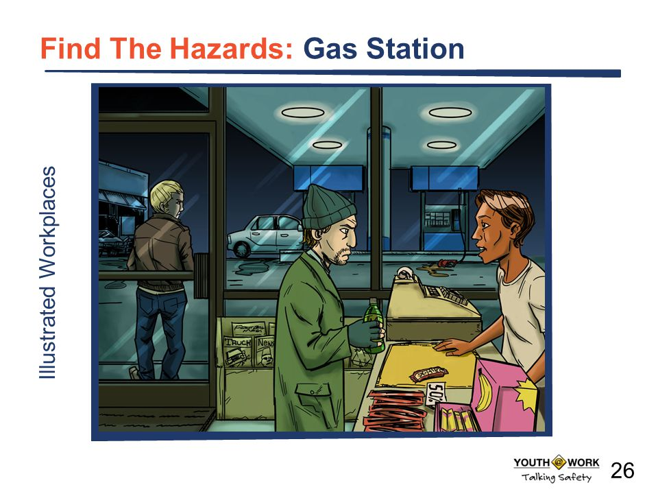 a Illustrated Workplaces Find The Hazards: Gas Station 26