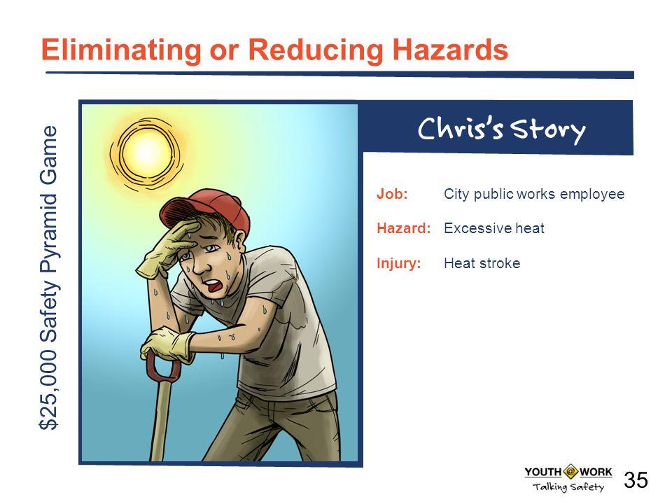 $25,000 Safety Pyramid Game Eliminating or Reducing Hazards Job:City public works employee Hazard:Excessive heat Injury:Heat stroke Chriss Story 35