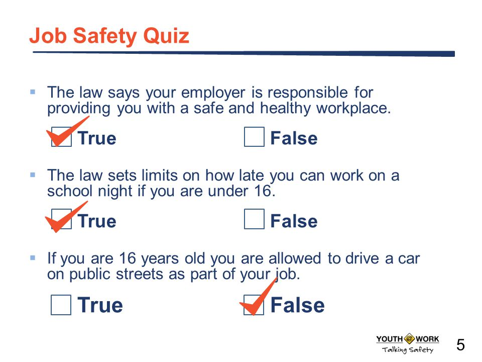 Job Safety Quiz The law says your employer is responsible for providing you with a safe and healthy workplace. TrueFalse The law sets limits on how la