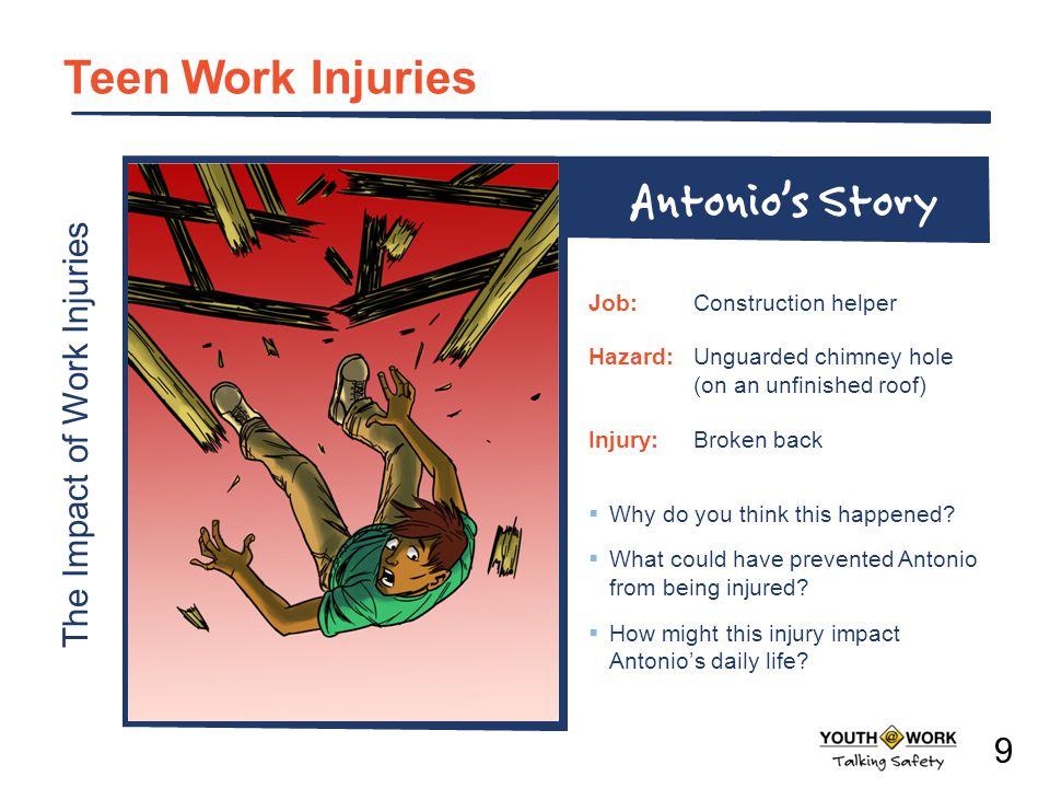 The Impact of Work Injuries Teen Work Injuries Why do you think this happened? What could have prevented Antonio from being injured? How might this in